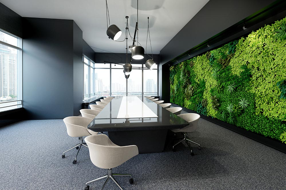 Picture of living green wall in an office conference room